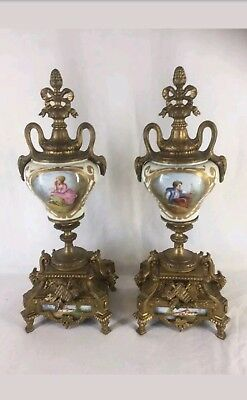 Pair of Antique French Ormalo Clock Garnitures