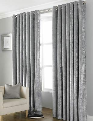 Crushed Velvet Thermal Blackout Eyelet Curtains Lined Silver Grey # 4 Sizes #