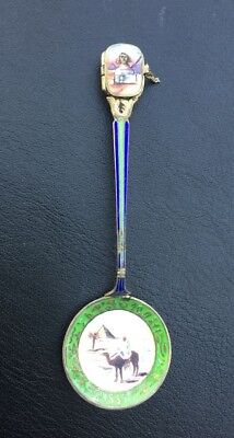 Antique Early 1900s Egyptian Souvenir Spoon Basket Opens Silver Gilt Enamel