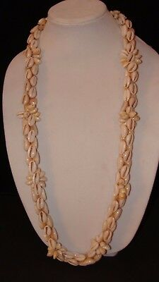 "Vintage 70's Hawaiian Cowrie Shell FLOWERS 38"" NECKLACE Lei Luau NOS"
