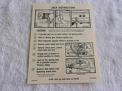 Mopar 1962 Plymouth Jack Instruction Decal Chrysler Plymouth Dodge