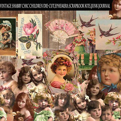 50 Vintage Shabby Chic Children Die-Cut,Ephemera Scrapbook kits,Junk journal