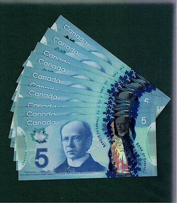 One $5 Polymer Note from the bundle. Prefix HBW. GemUNC. 2013. Canada