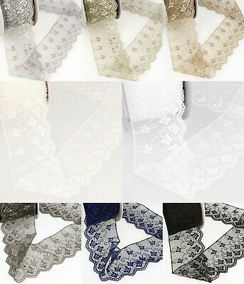 La Stephanoise Butterfly Embroidery on Tulle Lace Ribbon - 8 Colours - S3536