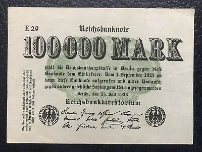 Reichsbanknote 100 000 Mark • Berlin  25. Juli 1923 • E 29