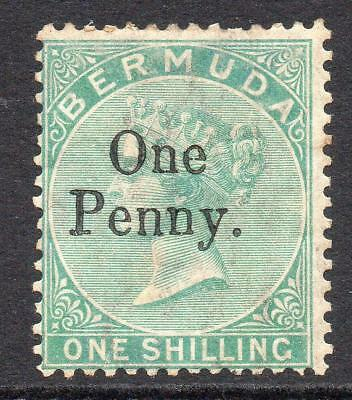 Bermuda 1 Penny on 1/- Stamp c1875 Mounted Mint (gum tone and messy back)