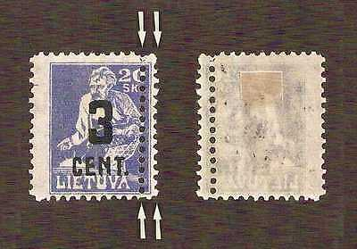 Lithuania 1922 ERROR ... 3c on 20sk with DOUBLE PERFS RIGHT SIDE ... MH *
