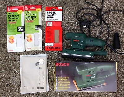 Bosch PSS23 corded orbital sander with dust extract port +3 packs of sandpaper