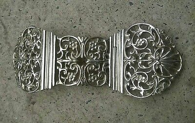 ANTIQUE SOLID SILVER NURSES BELT BUCKLE - 1898 William Hutton ?