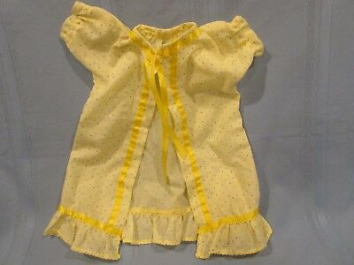 vintage newborn infant gown, yellow w/ polka dots, vintage doll or infant gown