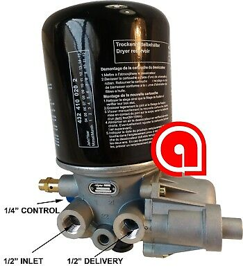 """Wabco, Meritor, Style SS1200 Air Dryer SAE Ports 1/2"""" in/out Ref R955205"""