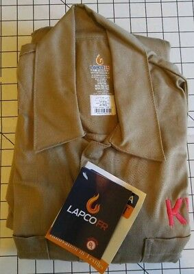 Lapco Flame Resistant Sizes XL, 40R, 44R, 48R. Long Sleeve Coveralls  Khaki Men