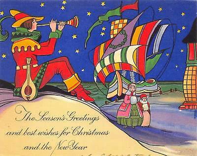 1920s art deco seasons greeting christmas new year card colorful troubadour