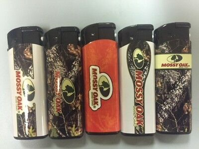 5 Pack Mossy Oak Jet Flame Lighter Refillable Windproof with White LED & butane