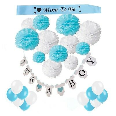 "Babyshower- Party Set- Papier Pompons-Girlande ""It´s a boy""-Luftballons-Schärpe"