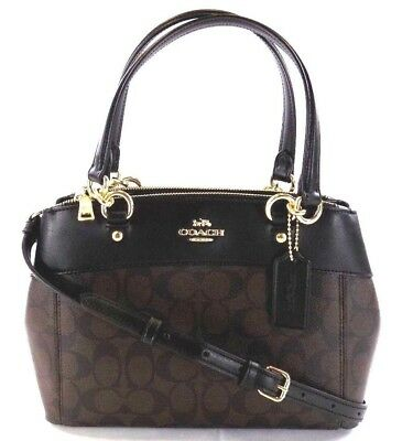 New Women's Coach (F25396) Signature Brooke Carryall Brown Black Handbag Purse