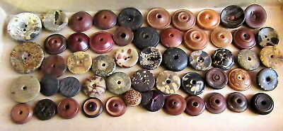 Antique Whistle Buttons Composition Vegetable Ivory owl eyes Goodyear lot