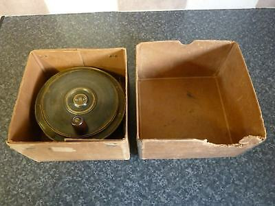 """Vintage 19Th Century Very Large Brass Fixed Ratchet Salmon Fishing Reel 5"""" Good"""