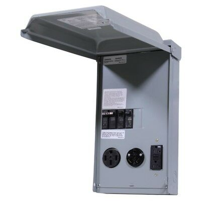100 Amp 3-Space 3-Circuit 240-Volt Unmetered RV Outlet Box with 50/30/20 Amp GCF