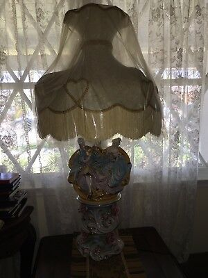 Vintage Azzolin Brothers porcelain figural Lamp With Lamp Shade