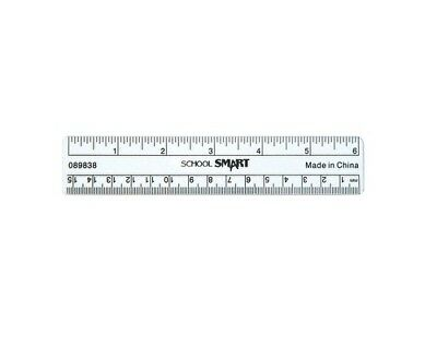 6 Inch Ruler Plastic Clear | School Smart | Student / Office / Drawing Supplies