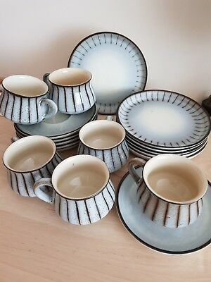 RARE  trio set of  Studio Pattern DENBY Pottery  6 trios  Cup,Saucer & teaplate