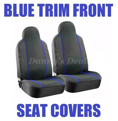 Black Blue Pipe Front Seat Covers Set Single x2 For Nissan Qashqai 2007 - 2013