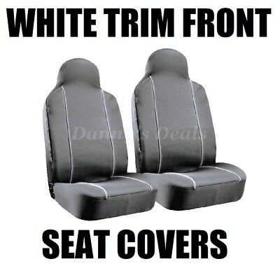 Black White Pipe Front Seat Covers Set Single x2 For Nissan Qashqai 2007 - 2013