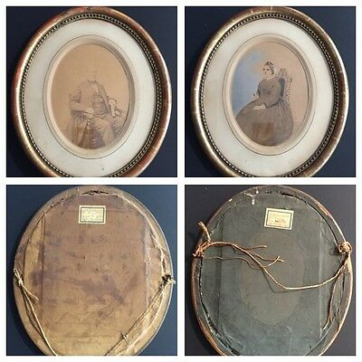Antique French Victorian Oval Gold Frame Man & Woman