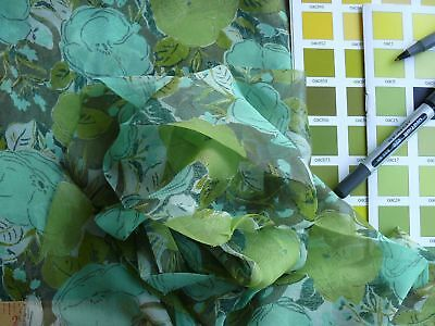 100% Silk Chiffon Green And Teal Flowers Box 17-4
