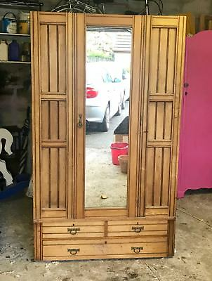 Antique Stripped Pine Wardrobe