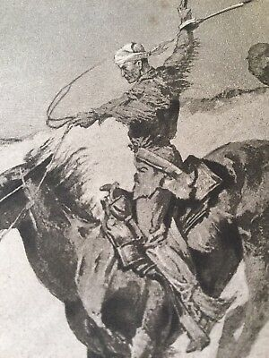 Antique 1897,1898 Frederic Remington Book Plate Prints Cowboy Indian Old West