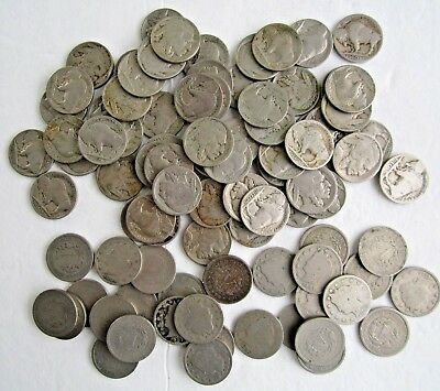 US Buffalo (62)  & Liberty V (29) Nickels. Large Lot Of 91 Coins. Circulated.