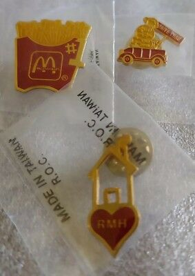 Lot of 3 Mixed McDonald's 1980's to 1990's Collectible Lapel Pins(P)