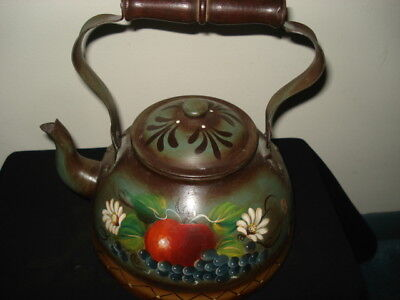 Tole Painted like Peter Ompir Vintage Hand Painted Tin Tea Kettle