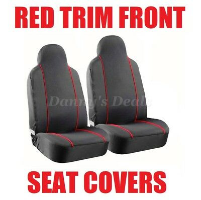 Black Red Pipe Front Seat Covers Set Single x2 For Nissan Qashqai 2007 - 2013