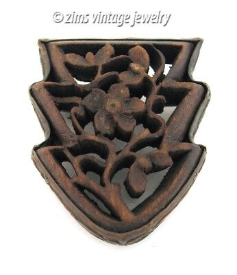 Antique CHINESE Art Deco era carved Wood FLORAL Vine repousse metal PIN brooch