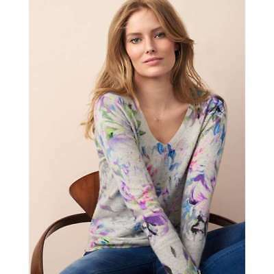 lovely digital floral 100% CASHMERE V neck JUMPER by PURE Collection  bnwt