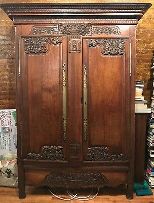 Louis XV Antique Armoire with gorgeous carvings and internal shelving