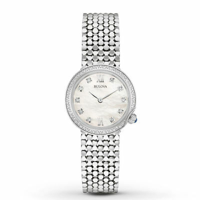 Bulova 96R206 Diamond Accent Mother of Pearl Dial Silver Tone Women's Watch