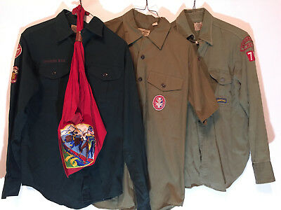 3 Vintage BOY SCOUT Uniform Shirts, Scarf & Patch 1960s