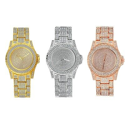 Luxury Mens 14k Gold Tone Iced out Simulated Lab Diamond Hip Hop Rapper Watch