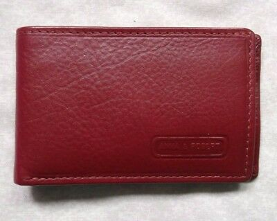 Wallet Vintage Leather RED COMPACT BI-FOLD ID CARD 1980s 1990s