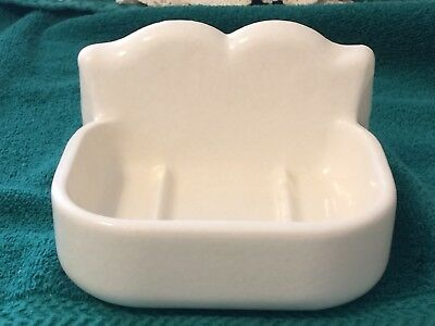 Antique Vintage Large Solid Porcelain Wall Mount Scalloped Soap Dish