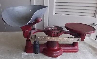 Antique HOWE RUTLAND Scale Co VT. No. 2, Weight Scale -Red- Stamped 8404