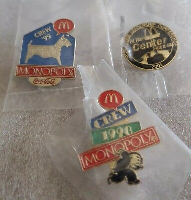 Lot of 3 Mixed McDonald's 1980's to 1990's Collectible Lapel Pins(Q)