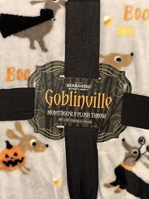 Halloween Dachshund Plush Blanket NEW -  Gray- Benefits Dachshund Rescue