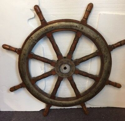 Large Early 20th C. English Maple And Iron Ships Wheel