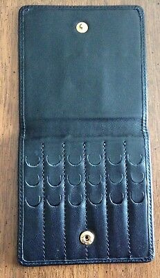 Brooks Brothers black leather collar stay snap close case