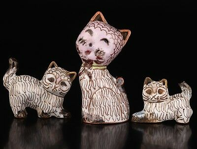 3  Old Cloisonne Handmade White Cat Family Statue Figurine Collection China